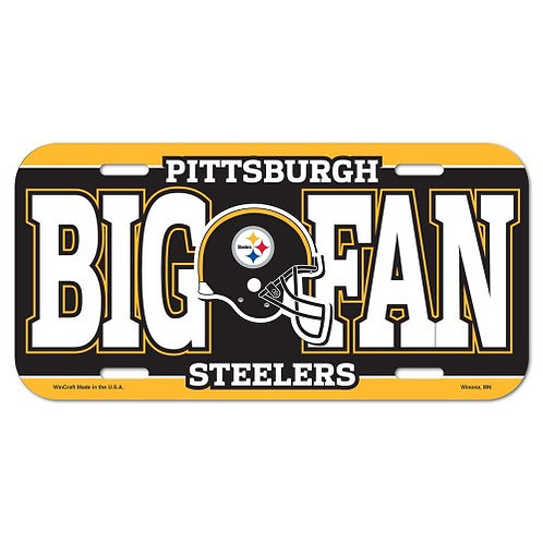 Pittsburgh Steelers 'Big Fan' Plastic- License Plate