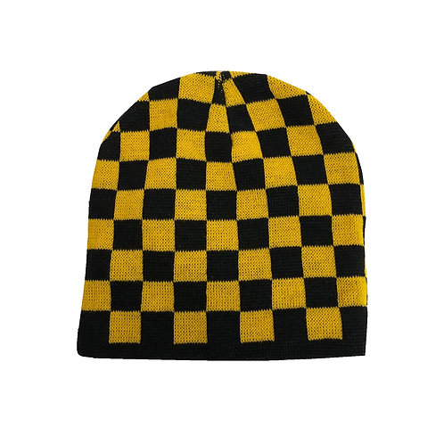 Pittsburgh Black & Gold Checkers Beanie