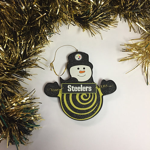 Pittsburgh Steelers Spiral Design Snowman Ornament