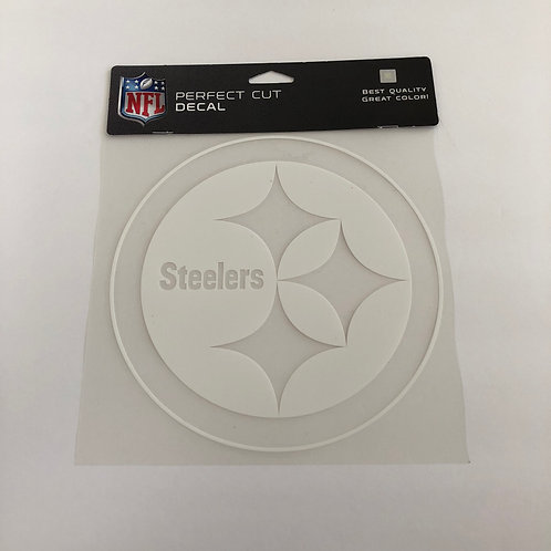 "Pittsburgh Steelers 8""x8"" White Emblem Perfect Cut Decal"
