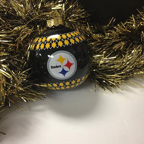 Pittsburgh Steelers Black Emblem Bulb Ornament