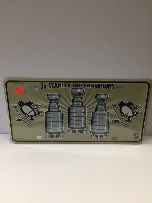 Pittsburgh Penguins, 3X SCC -  License Plate