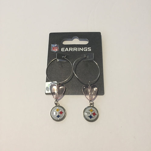 Pittsburgh Steelers Beads & Emblem Dangle Earrings
