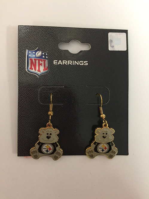 Pittsburgh Steelers Emblem Bear Earrings