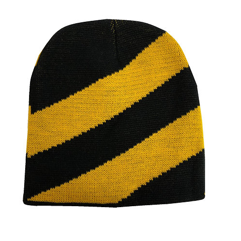 Pittsburgh Diaganal Gold & Black Stripe Beanie