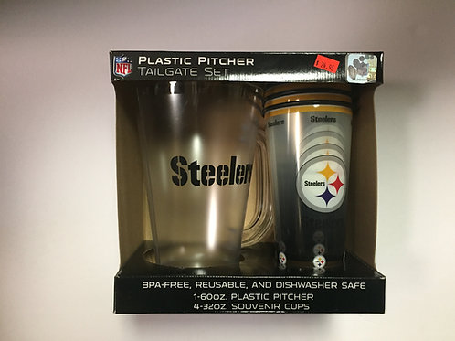 Pittsburgh Steeler Pitcher and Souvenir Cups Set