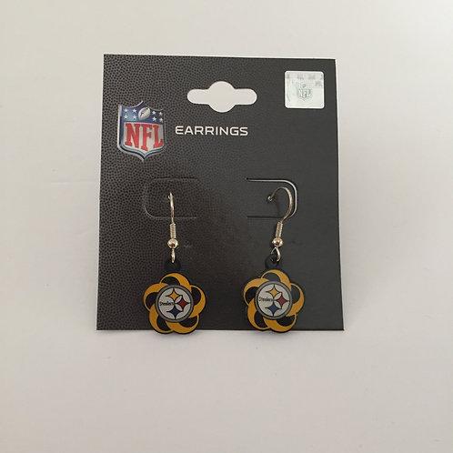 Pittsburgh Steelers Flower Swirl Earrings