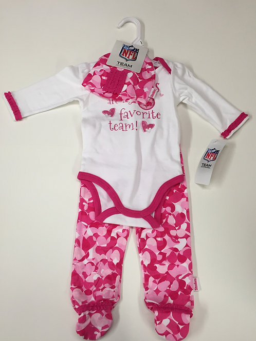 Pittsburgh Steelers Baby Girl 3 Piece Outfit 6-9M