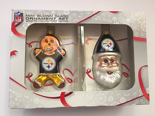 Steelers NFL Mini Blown Glass Ornament Set