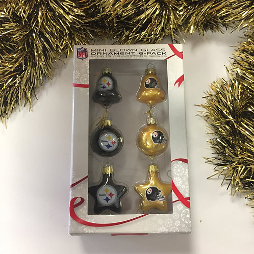 Pittsburgh Steelers Mini Blown Glass Ornament 6 Pack