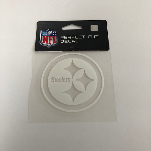 "Pittsburgh Steelers 4""x4"" Perfect Cut White Emblem Decal"
