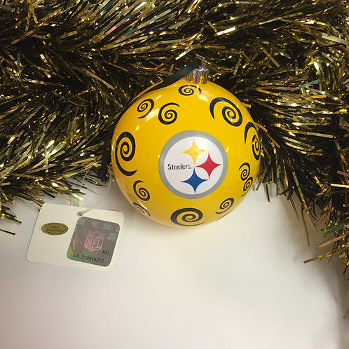 Yellow Steelers Ball Ornament