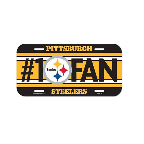 Pittsburgh Steelers #1 Fan in Black and Yellow Plastic-  License Plate