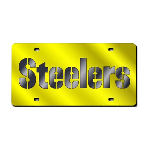 Pittsburgh Steelers Gold Laser Tag Plate - License Plate