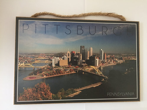 Pittsburgh Scene Wooden Sign