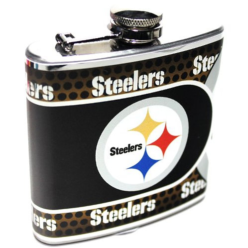 Silver 6oz. Stainless Steel Flask, Pittsburgh Steelers