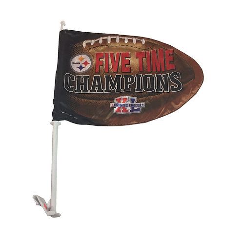 Pittsburgh Steelers 5X Champions Car Flag
