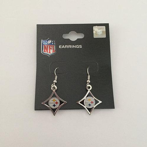 Pittsburgh Steelers Silver Diamond Shaped Earrings