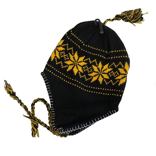 Pittsburgh Black & Gold Braided Eskimo Hat