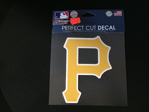 "Pittsburgh Pirates, Yellow Emblem 6""x6"", Perfect Cut Decal"