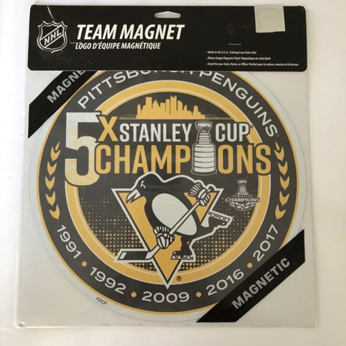 Pittsburgh Penguins 5X Stanley Cup Champions Team Magnet