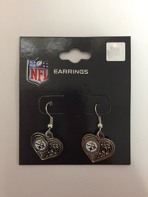Pittsburgh Steelers Silver Heart Earrings