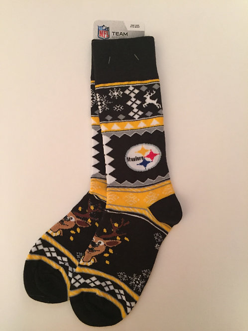 Pittsburgh Steelers Reindeer Socks