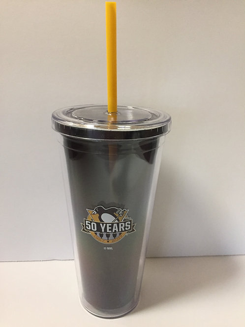 22oz NHL Pittsburgh Penguins 50th Anniversary Cup and Straw