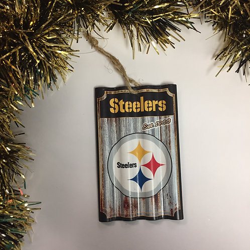 Pittsburgh Steelers Corrugated Metal Ornament