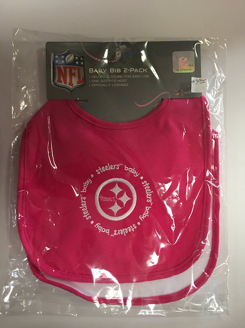 Pittsburgh Steelers Pink/White 2-Pack Baby Bibs