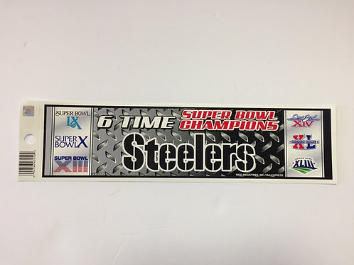 Pittsburgh Steelers 6 Time Bumper Sticker