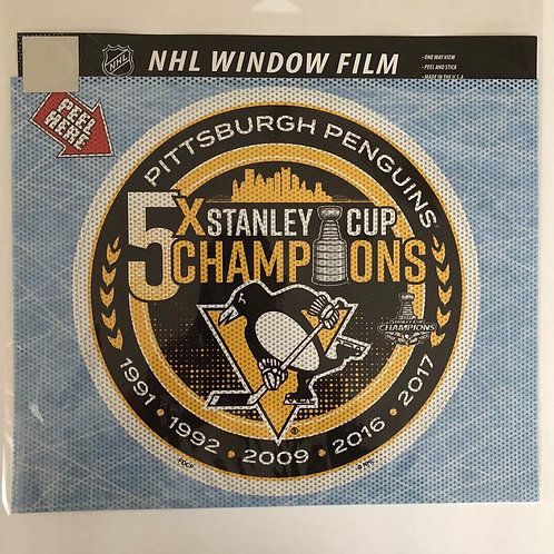 Pittsburgh Penguins 5X Stanley Cup Champions Window Film