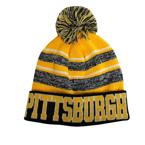 Pittsburgh Gold & Gray Knit Hat