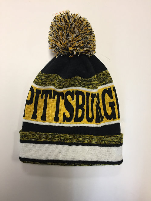 Pittsburgh Yellow & Black Knit Hat