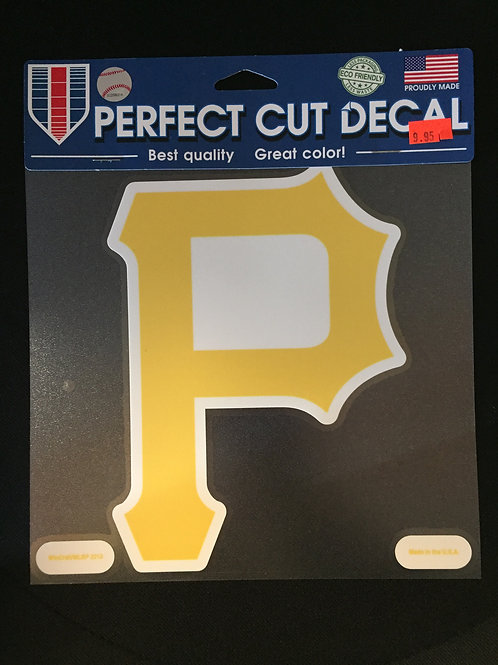 "Pittsburgh Pirates, Yellow Emblem 8""x8"", Die Cut Decal"
