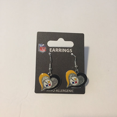Pittsburgh Steelers Hypo-Allergenic Heart Earrings