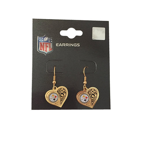 Pittsburgh Steelers Gold Heart Earrings