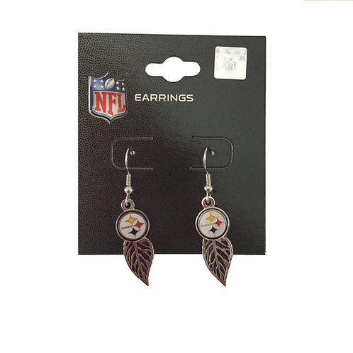 Pittsburgh Steelers Emblem Feather Earrings