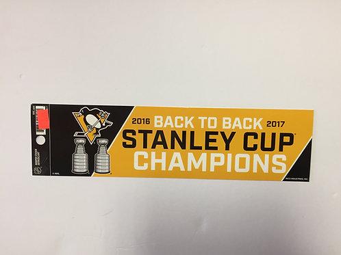 Pittsburgh Penguins Back to Back SCC Bumper Sticker