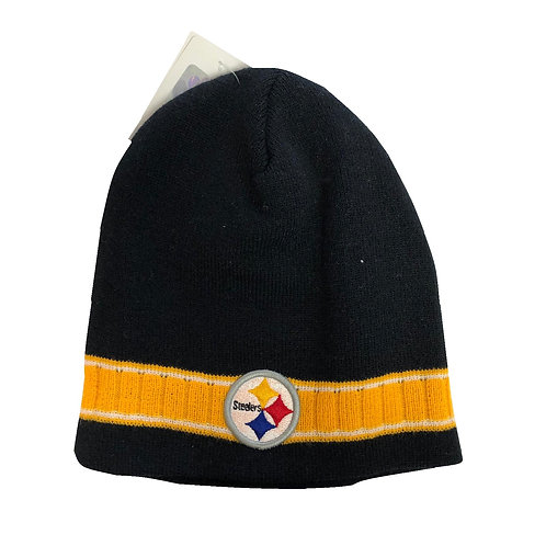 Pittsburgh Steelers Black Emblem with Yellow Stripe Beanie