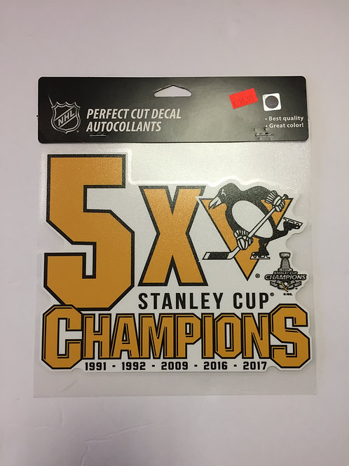 Pittsburgh Penguins 5X Champions, Perfect Cut Decal