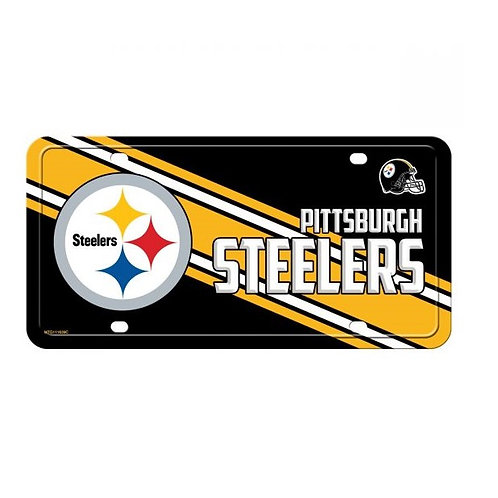 Pittsburgh Steelers, Black, White and Yellow Stripe -  License Plate