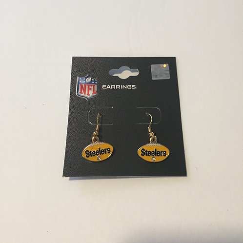 Pittsburgh Steelers Gold Bling Football Shaped Earrings