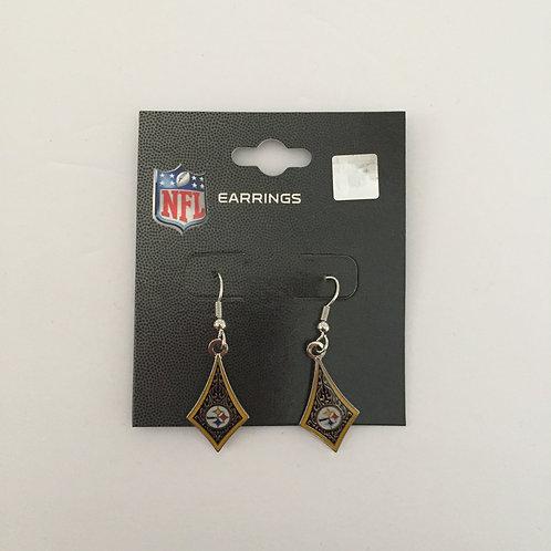 Pittsburgh Steelers Long Diamond Earrings