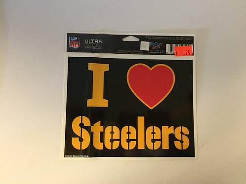 Pittsburgh Steelers 'I Heart Steelers' Black Ultra Decal