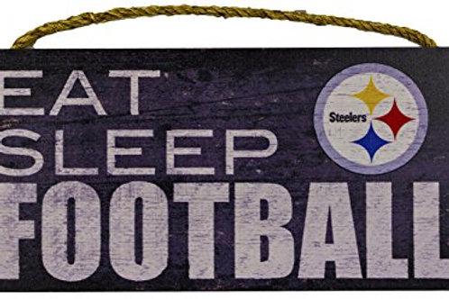 "Pittsburgh Steelers 12"" x 6"" Eat Sleep Football Wood Sign"