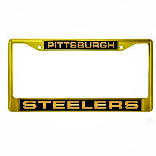 Pittsburgh Steelers Mirror Gold and Black-  License Plate Frame