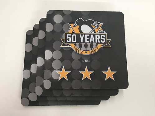 NHL 50th Anniversary Coasters Pittsburgh Penguins
