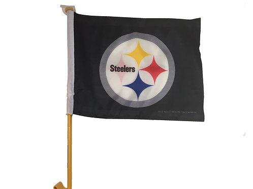 Pittsburgh Steelers Black Emblem Car Flag