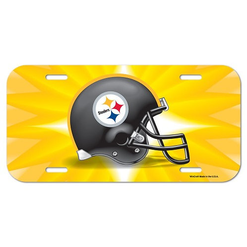 Pittsburgh Steelers Gold Starburst with Helmet Design  Plastic- License Plate